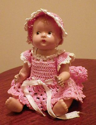 """Antique Original Darling 1934 7"""" Effanbee Baby Tinyette With Clothes"""