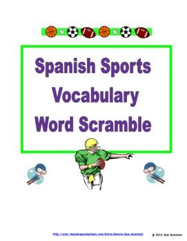 Spanish Sports Word Scramble Worksheet - Los Deportes by Sue Summers