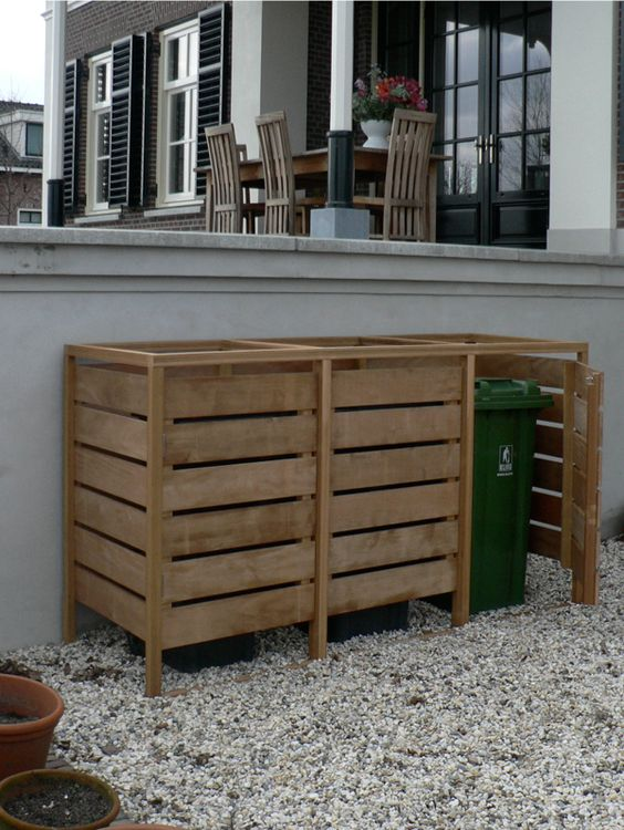Hide the trash bins/recycling