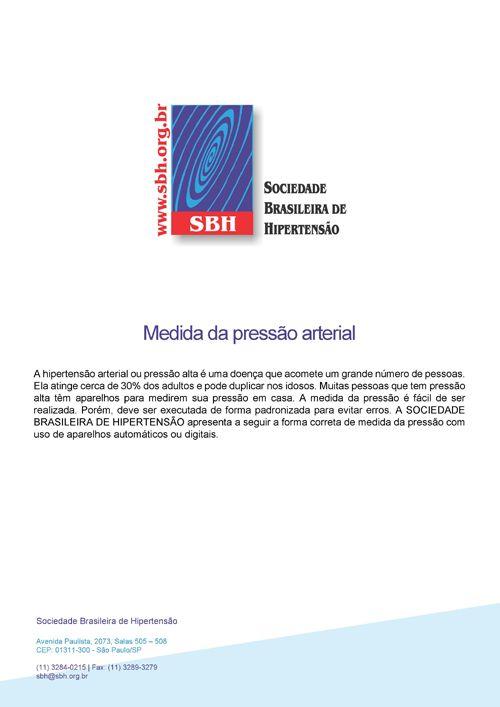 SBH Sociedade Brasileira De Hipertensão - Cartilha