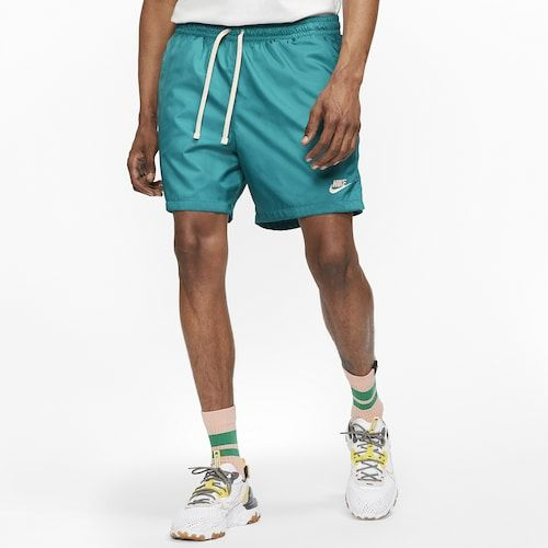Nike Flow Woven Shorts Men S Turquoise White In 2020 Mens Shorts Outfits Mens Sportswear Nike Clothes Mens
