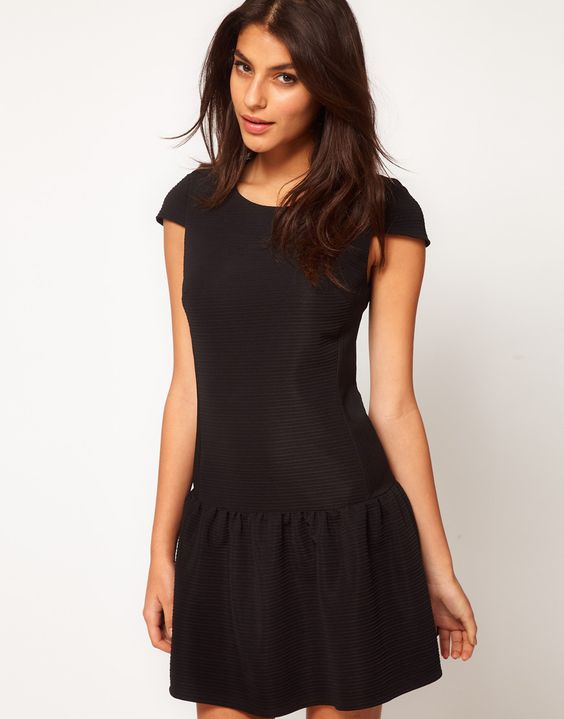 ASOS Dress In Texture With Dropped Waist