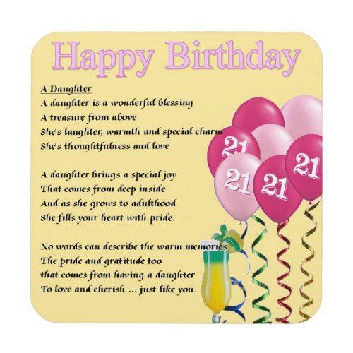 21st Birthday Daughter Poem Coaster Zazzle Com 21st Birthday Quotes Birthday Poems For Daughter Happy 21st Birthday Daughter