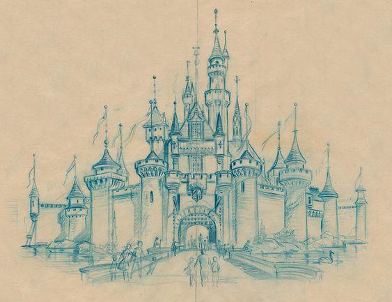 Sleeping Beauty Castle Sketch, 1955 | Scan from Kevin Kidney - http://www.flickr.com/people/miehana/