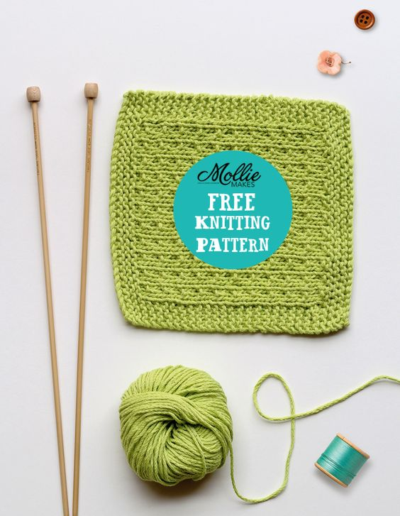 Mollie Makes free knitting pattern - knitted washcloth pinterest knitting ...