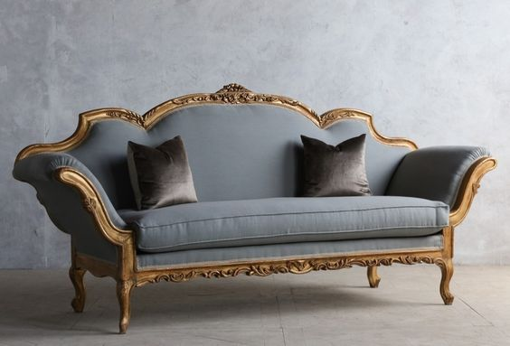 1920's Vintage Shabby Gilt Italianate Rococo Daybed-antique,, carved, sofa, furniture, upholstered, Scalamandre, elegant, sloped, hand, romantic, gold, day,bed, blue, wood, floral