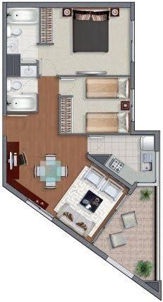Planos de casas en 60m2 y 61m2 de 3 y 2 dormitorios for 60m2 apartment design