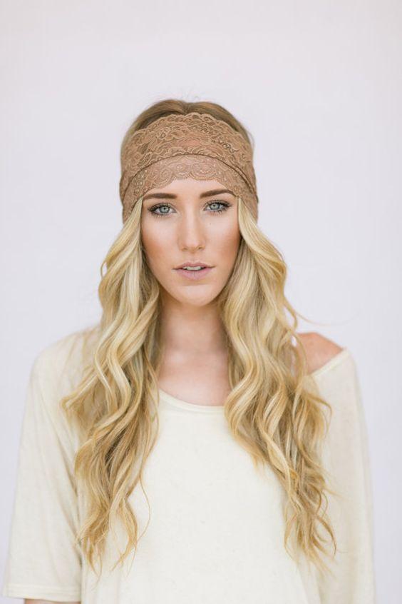 Lace headbands, Taupe wedding and Headband hair on Pinterest