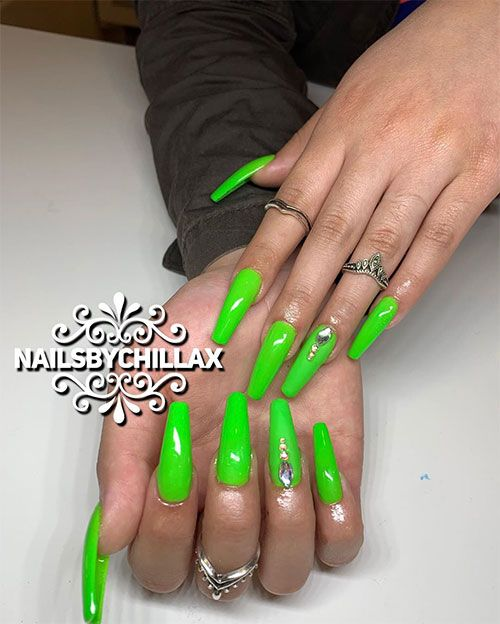Best Nails For Summer 2019 Green Acrylic Nails Green Nails