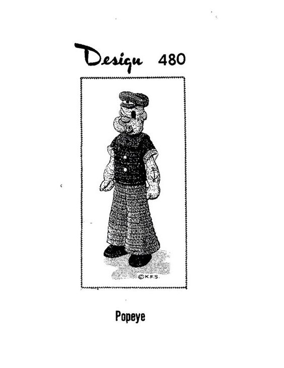 Popeye the sailor vintage toy crochet pattern PDF instant ...