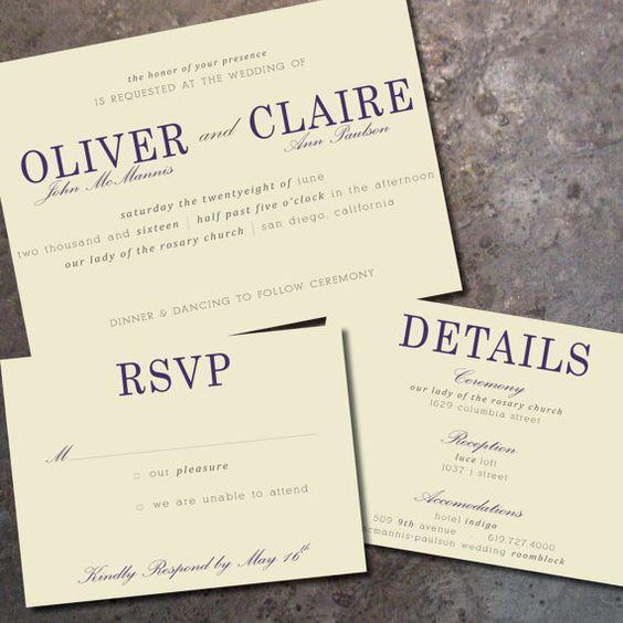 Wedding Invitations Details: Modern, Elegant Horizontal Wedding Invitation & RSVP Card