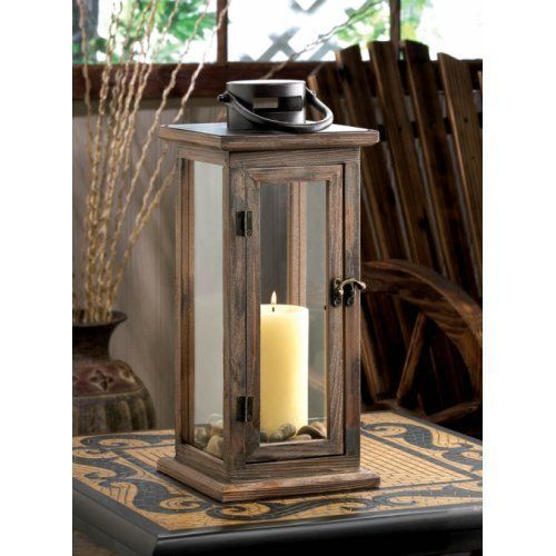 "Wood Candle Lantern Extra Large Candleholder Wedding Centerpieces 19"" Tall  #HomeLocomotion"