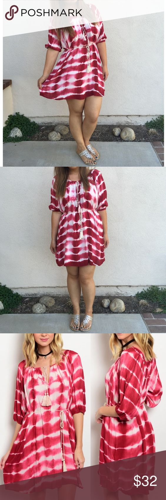 Wine Tie Dye Tassel Dress Gorgeous comfy tie dye dress with tassel edged wrap around tie, and neckline drawstring tie. Feel beautiful and comfortable at the same time💕  [BUNDLE] for 15% off!  ❌No trades, PayPal, Holds 📷Instagram: @lovelionessie Dresses