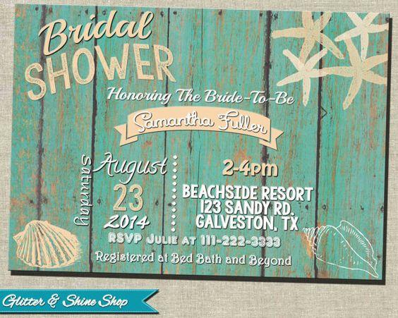 Printable BEACH BRIDAL Shower INVITATION by GlitterAndShineShop ...