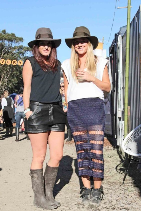 Matching wide-brim hats at Splendour In the Grass music fest