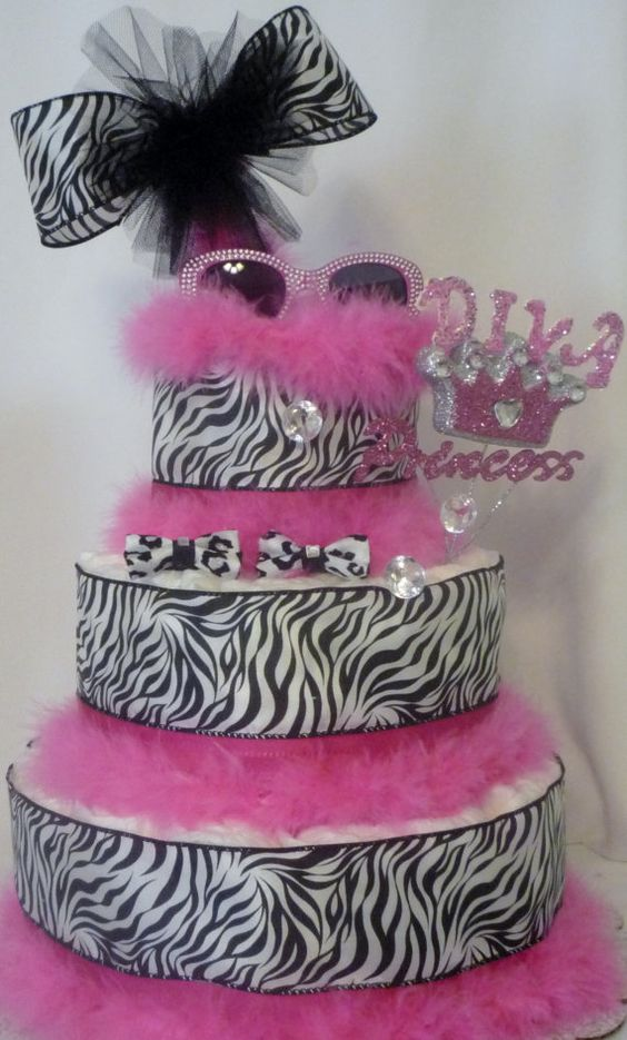 Diva Princess Diaper Cake Zebra Diaper Cake by BasketsFromAtoZ, $60.00