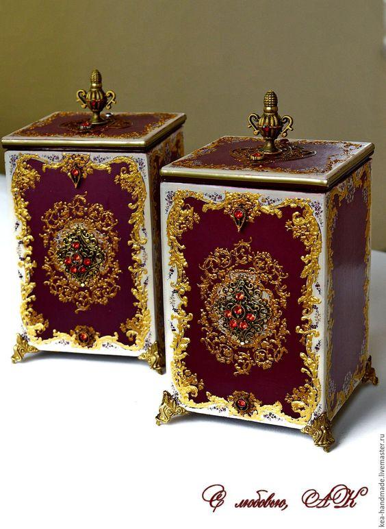 """Купить Короба - шкатулки """"Бургундия"""" - бордовый, помпезный стиль, бордо, золотой цвет, короба"""