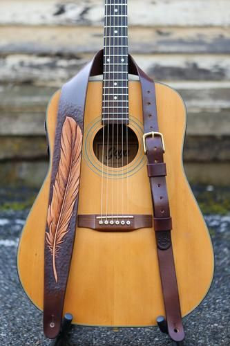 Hand Carved Feather Guitar Strap Shown On Guitar Leather Guitar Strap Pattern Leather Guitar Straps Acoustic Guitar Strap