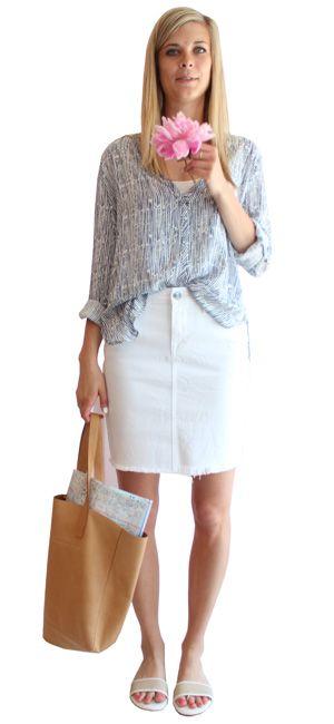 print top & denim pencil skirt
