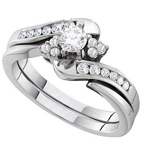 0.48 Carat (ctw) 14K White Gold Round Diamond Ladies Engagement Ring Set With 0.25 CT Round Center 1/2 CT. Crafted in 14K White-gold. Diamond Color / Clarity : H-I / I1-I2. Diamond Weight : 0.48 ct tw. Weights approximately 5.30 grams. Gemstone : Diamond.