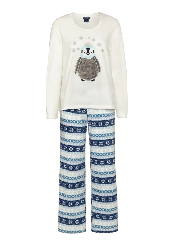 clothing at tesco f f faux fur detail penguin fleece. Black Bedroom Furniture Sets. Home Design Ideas