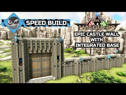 Ark Valguero How To Build A Castle Epic Medieval Castle Wall Speed Build Youtube Ark Survival Evolved Bases Ark Survival Evolved Castle Wall
