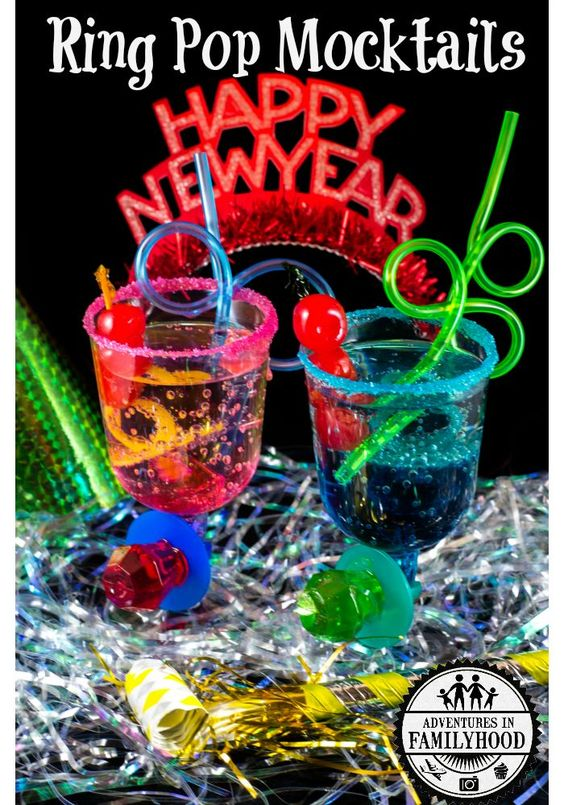 Ring Pop Mocktails | New Year's Eve with Kids | Adventures in Familyood