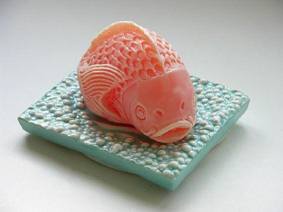 Koi fish soap on ceramic dish ceramics dishes and soaps