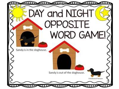 Day and Night Opposite Word Game from Donna-Thompson on ...
