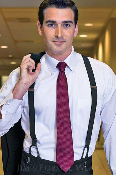 grey suit suspenders tie suit and suspenders