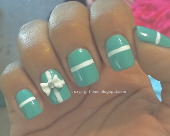 Tiffany Inspired Manicure - China Glaze  for Audrey with white bow
