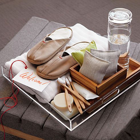 Cute welcome trays for guests!