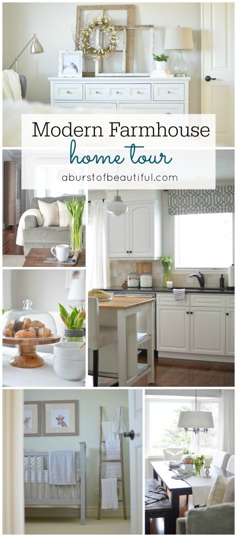 Our home tour the spirit home tours and kitchen window for Modern farmhouse window treatments