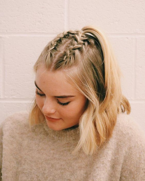 These Gym Hairstyles Will Last You Through Literally Any Workout French Braid Short Hair Braided Bangs Hairstyles Braids For Short Hair