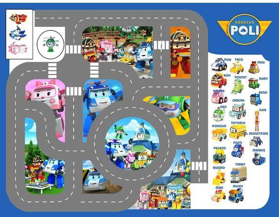 D tails sur bache imprim e tapis circuit voiture robocar poli figurine and ebay - Robocar poli jeux gratuit ...