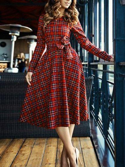 Red Plaid Sash Long Sleeve Midi Dress