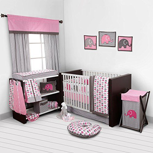 Crib Bedding Girl Nursery, Purple Elephant Mini Crib Bedding