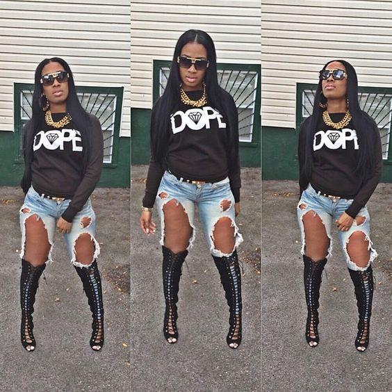 Dope Sweater Jumper Denim Ripped Jeans Shades Sunglasses ...