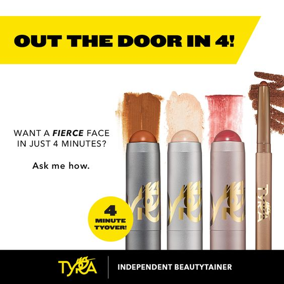 Get your Fierce on! 4 minute TyOver and you are out the door! Check out Tyra Banks' BRAND NEW makeup line at www.Tyra.com/PrettyBlessed
