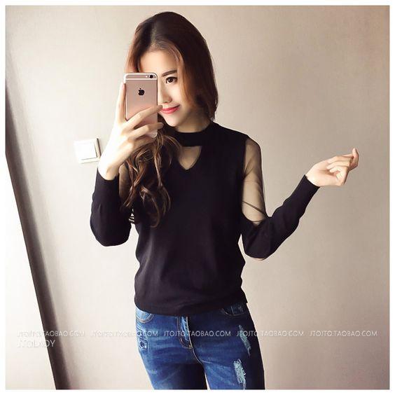เสื้อถักเย็บใหม่ _ เสื้อกันหนาวเกาหลีคอวีเสื้อถักหญิงป่าที่ไม่มีสายหนังแขนยาว - อาลีบาบา