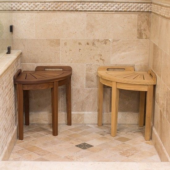 Bathroom Corner Shower Stool Seat Spa Foot Rest Solid Wood Teak Chestnut Natural Bllfurniture Shower Stool Teak Shower Bench