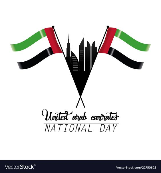 Uae Flag With Building To Partiotic National Day Vector Image Uae Flag Uae National Day National Day