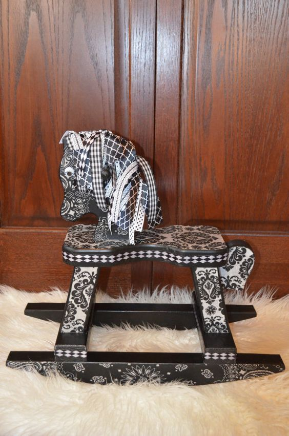 Black and White Damask Rocking Horse Photography by AshburyPanache, $48.00