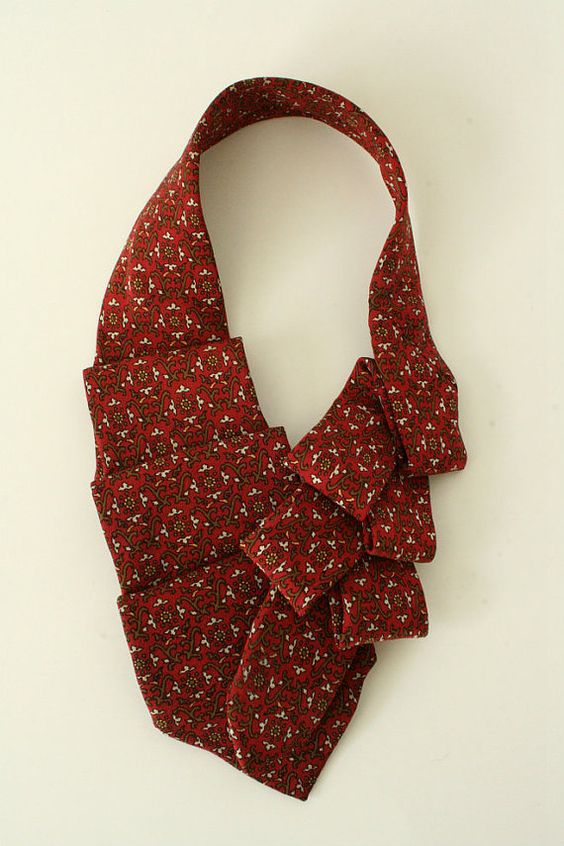 Womens Collar Ascot Upcycled Neck Tie Brick by OgsploshAccessories, $40.00