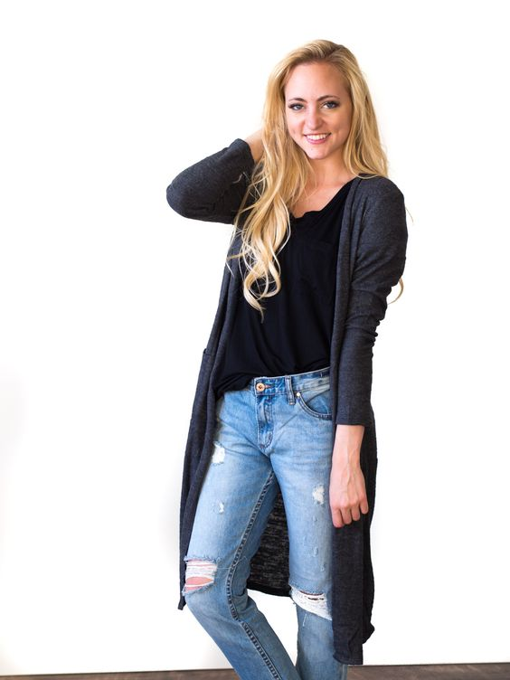 Brittany Cardigan in Charcoal
