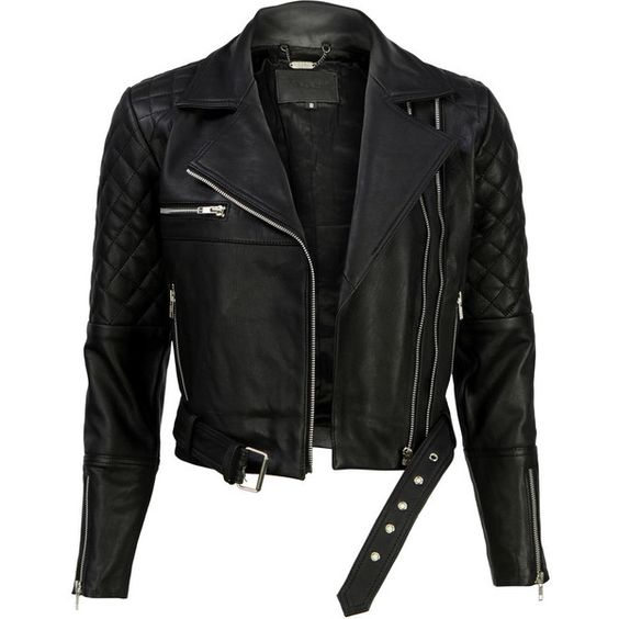 VIPARO Black Quilted Asymmetrical Biker Leather Jacket - Alexei (990 BRL) ❤ liked on Polyvore featuring outerwear, jackets, tops, black, cropped leather jacket, lined leather jacket, quilted biker jacket, zipper leather jacket and biker jackets