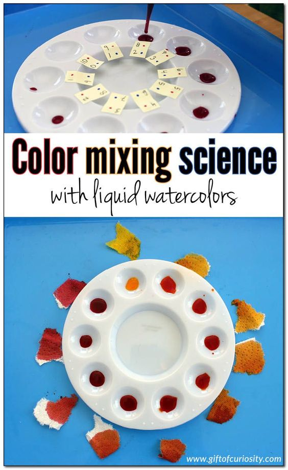 Color mixing science with liquid watercolors. An advanced color theory activity that also develops fine motor skills. What a fun way to learn about primary colors and secondary colors! || Gift of Curiosity