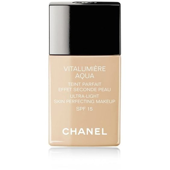 CHANEL VITALUMIÈRE AQUA Ultra-Light Skin Perfective Makeup Instant... ($52) ❤ liked on Polyvore featuring beauty products, makeup, beauty and filler