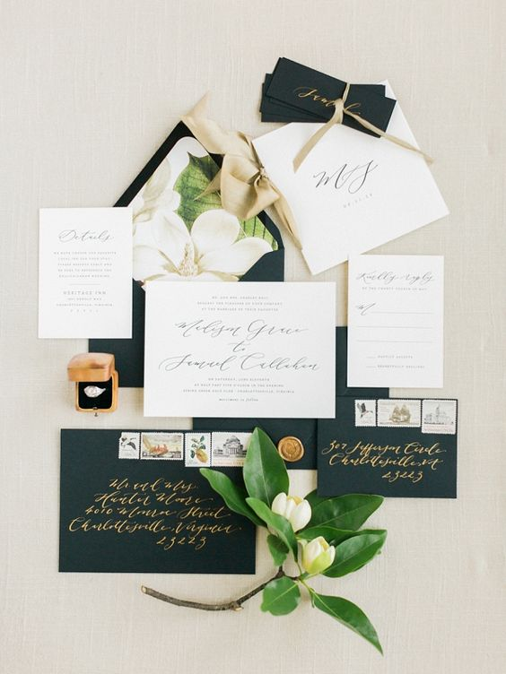 Magnolia Wedding Invitation Suite | Classic Wedding Inspiration By Rachel May Photography