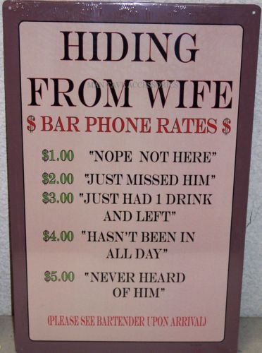 The League Man Cave Quotes : Hiding from wife tin sign bar phone rates man cave rec